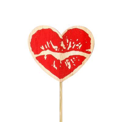 <h4>Bijsteker hart Lips hout 6x7cm+12cm stok</h4>
