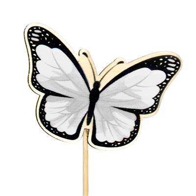 <h4>Pique papillon Single bois 6x7cm+12cm bâton blanc</h4>