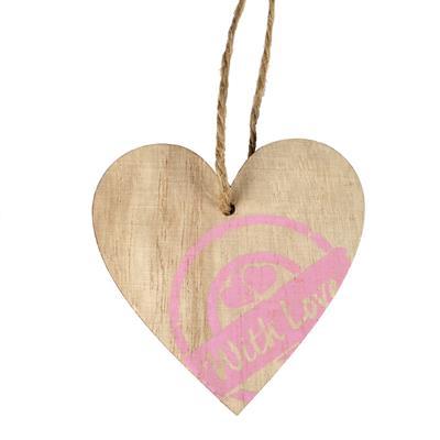 <h4>Pendentif timbre cœur bois 7x7cm+16cm corde rose</h4>