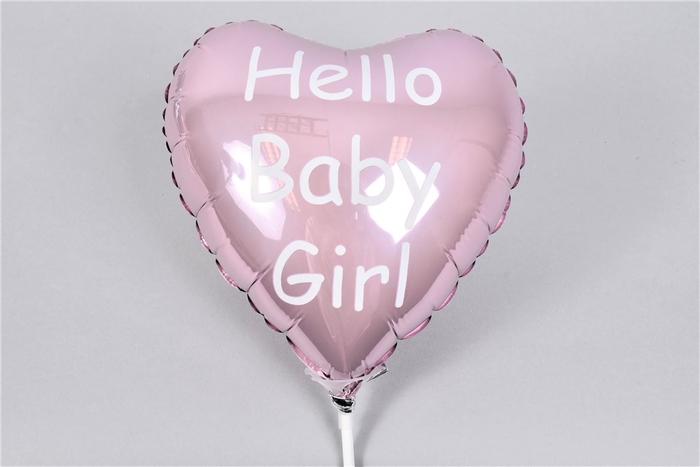 <h4>Bijsteker Ballon Hello Baby Girl 18x11x55cm Per St</h4>