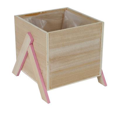 <h4>Pot Alvie en bois 13.5x13.5xH12cm sur pied rose</h4>