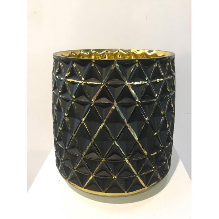 <h4>TAMBORA POT ROUND BLACK GOLD 19X19CM OASIS-DECO</h4>
