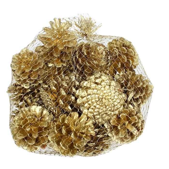 <h4>Pine cone 500gr in net gold </h4>