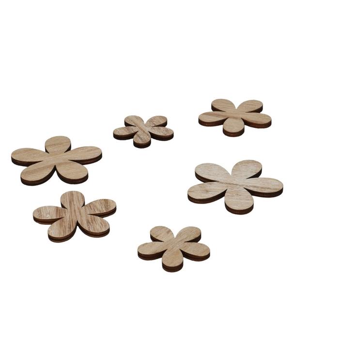 <h4>Decoratie Hout bloem 4-6cm x12</h4>
