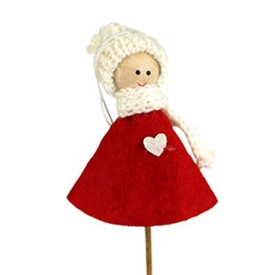 <h4>Nordic poupée de feutre 10x6cm sur tige 50cm rouge</h4>