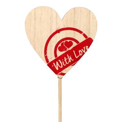 <h4>Bijsteker stempel hart hout 7x7cm+12cm stok rood</h4>