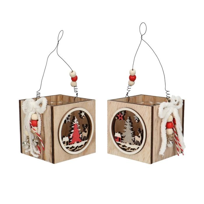 <h4>Candlelight Wood christmas deco d8*8cm ass.6cm x5</h4>