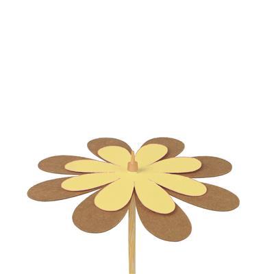<h4>Bijsteker bloem kraft 8cm+50cm stok geel</h4>