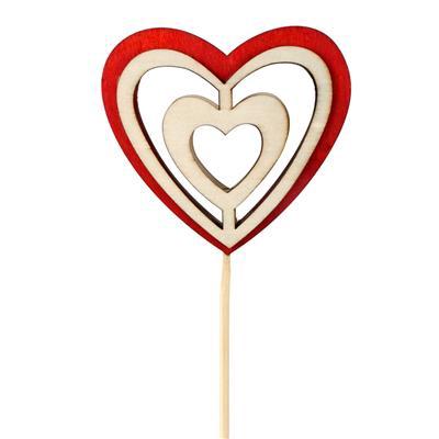 <h4>Pique Double Heart bois 9x10cm+12cm bâton rouge</h4>