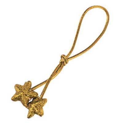 <h4>Cordon elastique 17cm + 2 étoiles 3cm glitter d'or</h4>