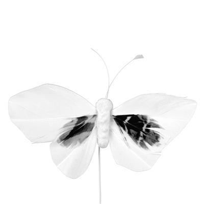 <h4>Bijsteker Butterfly 6x10cm+12cm draad 48 stuks wit</h4>
