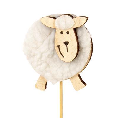 <h4>Pique mouton bois+laine Ø6cm+12cm bâton</h4>