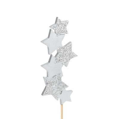 <h4>bijsteker Six Stars hout 10x4,5cm+50cm stok zilver</h4>