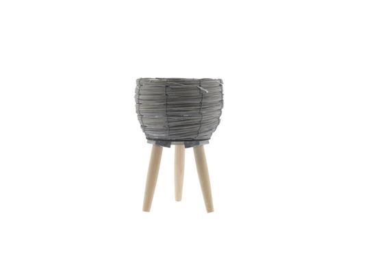 <h4>Basket W/feet Ø21x30 Grey/nat</h4>