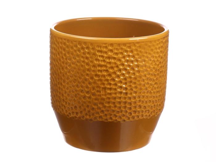 <h4>DF883594047 - Pot Pisa+dots d13.5xh13.2 curry glazed</h4>