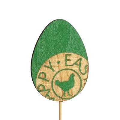 <h4>Bijsteker ei Stamped hout 7x5cm+12cm stick groen</h4>