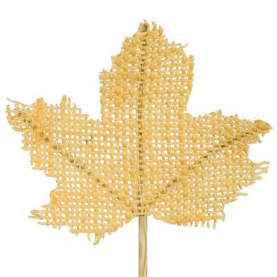 <h4>Bijsteker Maple Leaf jute 8x8cm+12cm stok geel</h4>