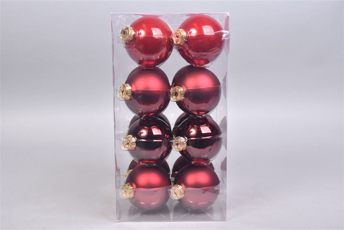 <h4>Glasbal Christmas Red 80mm Per 16</h4>