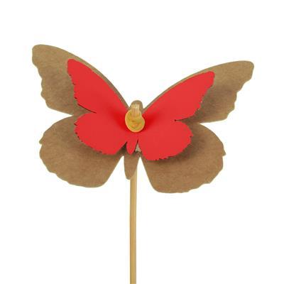 <h4>Pique Papillon kraft 7x9cm+bâton 50cm rouge</h4>