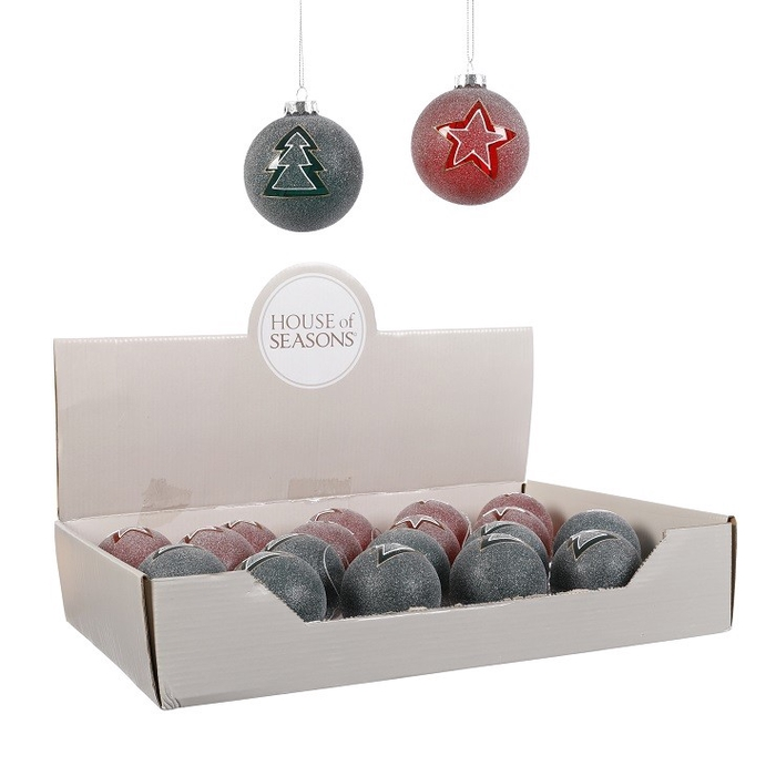 <h4>Christmas bauble Ball 70mm frosted ass.</h4>