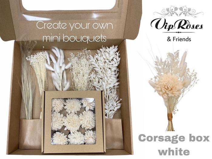 <h4>DRIED VIP CORSAGE BOX WHITE</h4>