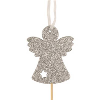 <h4>Pique Ange de Noël foam 8x6,6cm+50cm argent</h4>