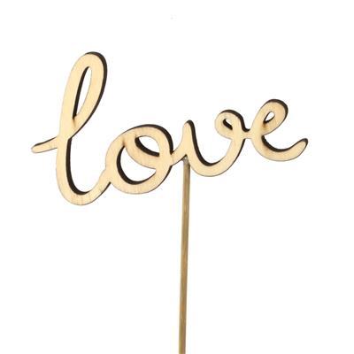 <h4>Bijsteker Love Letters hout 5,5x10cm+12cm stok</h4>