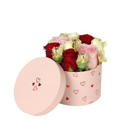 <h4>Hoedendoos Love story karton Ø14xH10cm roze</h4>