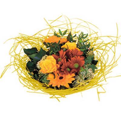<h4>Bouquet holder woody Ø20cm yellow</h4>
