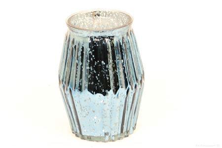 <h4>SHIMMER ETCHED TLIGHT GLASS ROUND H16.0 D11.0 BLUE 861824039</h4>