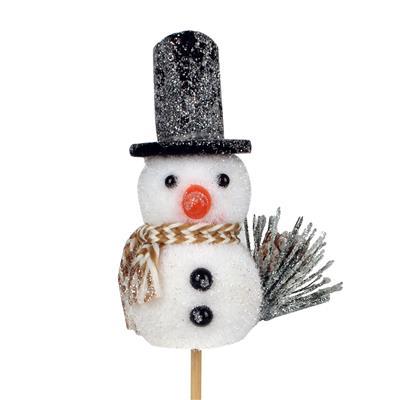 <h4>Bijsteker sneeuwpop foam 8x5,5cm+50cm stok</h4>
