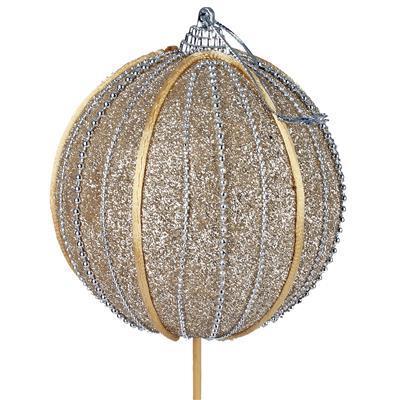 <h4>Pick Christmas ball foam 10cm + 50cm stick gold</h4>