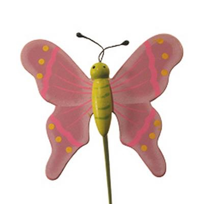 <h4>Pique Papillon flying bois 5x6cm+bâton 20cm lilas</h4>