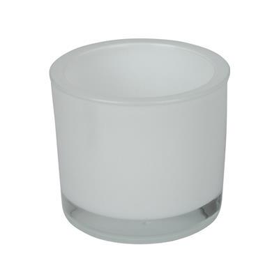<h4>Pot en verre Soweto blanc D9xH8cm</h4>
