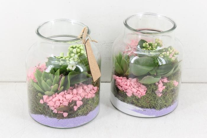 <h4>arr. MB - Glas fles dik - roze/wit</h4>