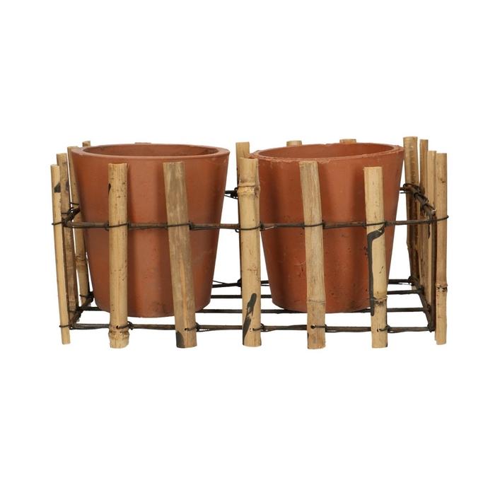 <h4>Sale Tray bamboo+2pot d27/12.5*13cm</h4>