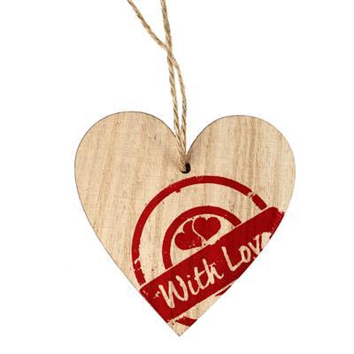 <h4>Pendentif timbre cœur bois 7x7cm+16cm corde rouge</h4>