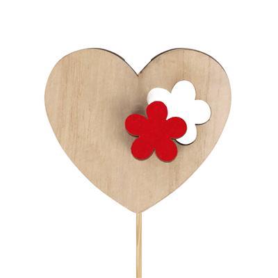 <h4>Bijsteker hart bloem hout 6x7cm+12cm stok rood</h4>