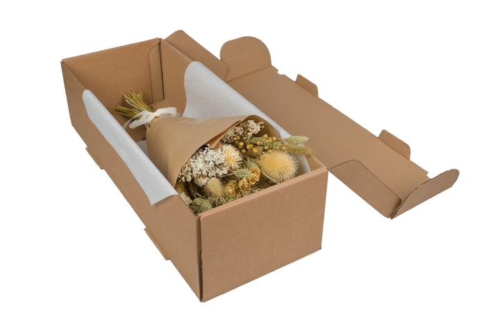 <h4>HAND TIED BOUQUET IN BOX NATUREL</h4>
