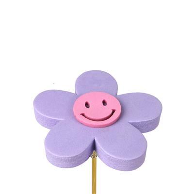 <h4>Bijsteker bloem Happy foam 7cm+ 12cm stok lila</h4>