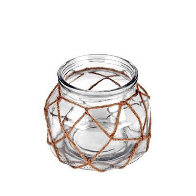 <h4>Vase Marrakesh verre+corde Ø16xH12,5cm transparant</h4>