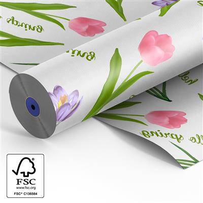<h4>Papier rol 60cm wit kraft 40 gr Hello Spring 500m.</h4>