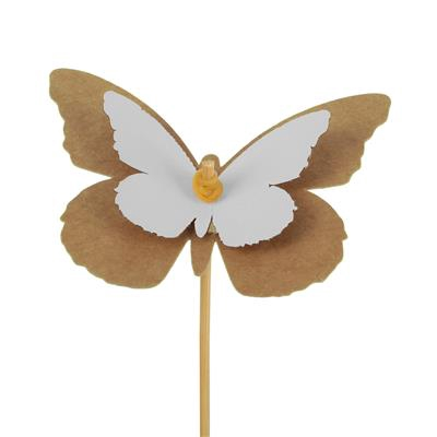 <h4>Pique Papillon kraft 7x9cm+bâton 12cm blanc</h4>
