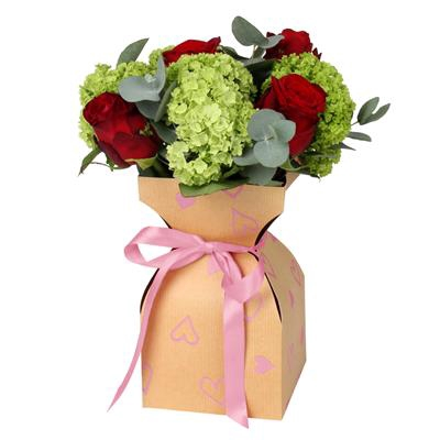 <h4>Vase Basic Love story krafte 11,5xH21cm rose</h4>