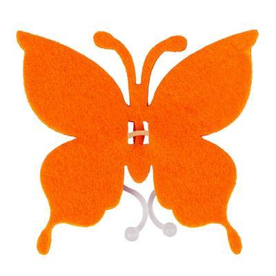 <h4>Butterfly felt 8x8,5cm + clip orange</h4>