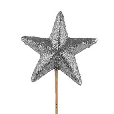 <h4>Star glitter de mousse Ø6cm sur tige 10cm argent</h4>