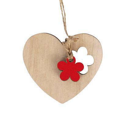 <h4>Pendantif coeur fleur bois 6x7+16cm jute corde rou</h4>