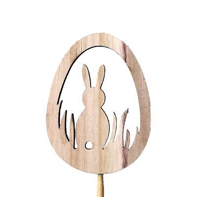 <h4>Bijsteker Egg+Rabbit hout 8x6cm+12cm stok</h4>