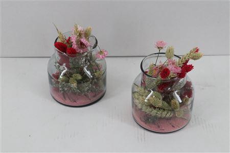 <h4>Arr. Dried Flowers Glass Mini Milano Roze</h4>