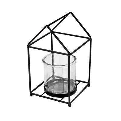 <h4>Lantaarn Florence metaal zwart + 1xglas Ø10xH10cm</h4>